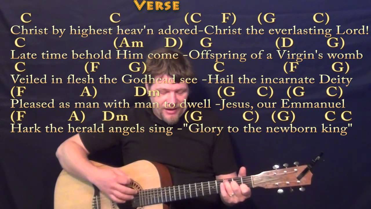 Hark The Herald Angels Sing Strum Guitar Cover Lesson In C With