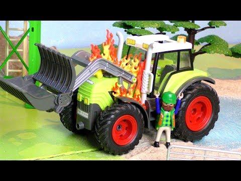Der Trecker brennt - Traktor fängt Feuer auf dem Bauernhof - Tractor Vehicles for Kids