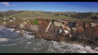 Aerial Video: Gleason Beach Hwy 1, Storm Damage, Houses Sliding into the Ocean