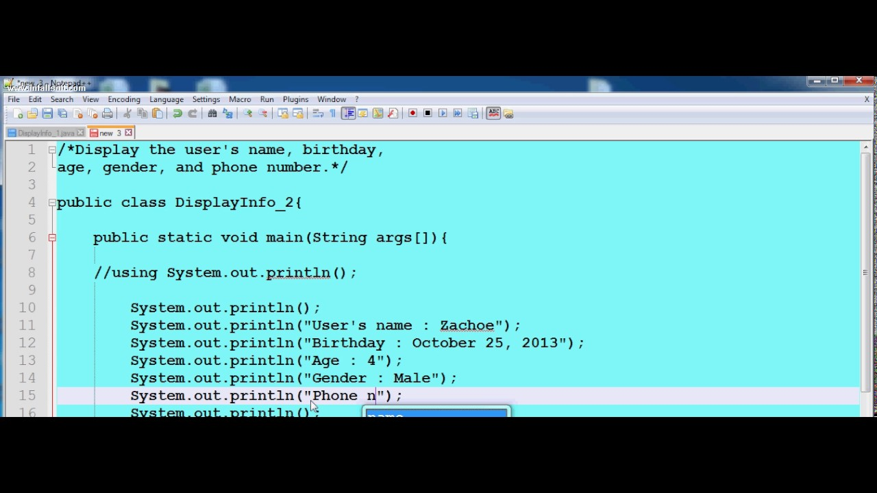 Basic java command line using System out println()