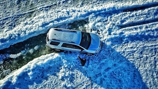 Rescue Mission: Man Stuck on Thin Ice Frozen Lake