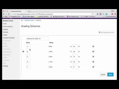 Setting your own grading scheme in Canvas