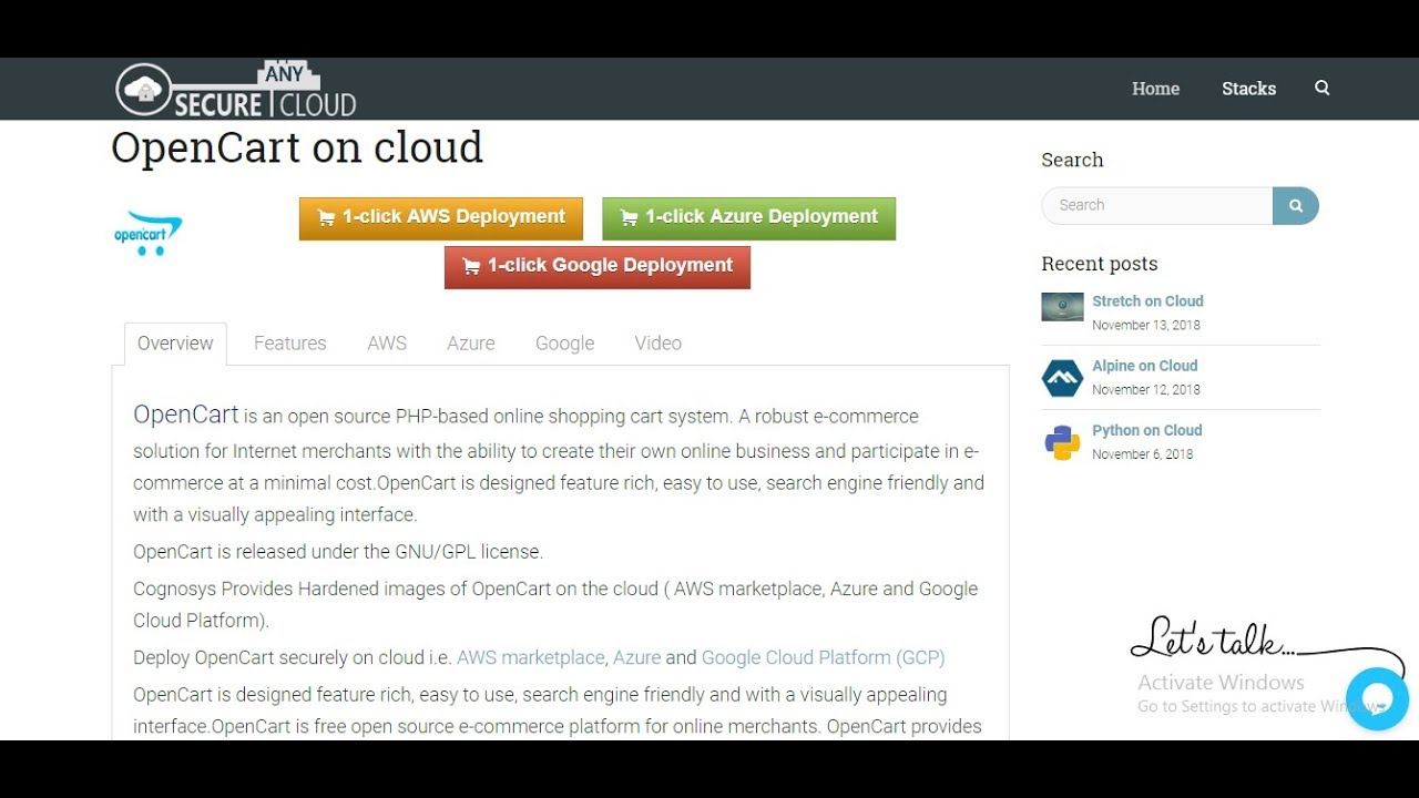 OpenCart on cloud( AWS/Azure/Google Cloud )