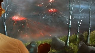 How to draw - Natural Calamity in a Deep Jungle - Oil painting