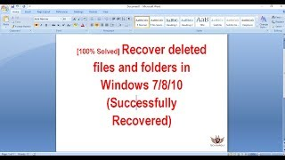 How to recover Permanently deleted files and folders in Windows 7/8/10