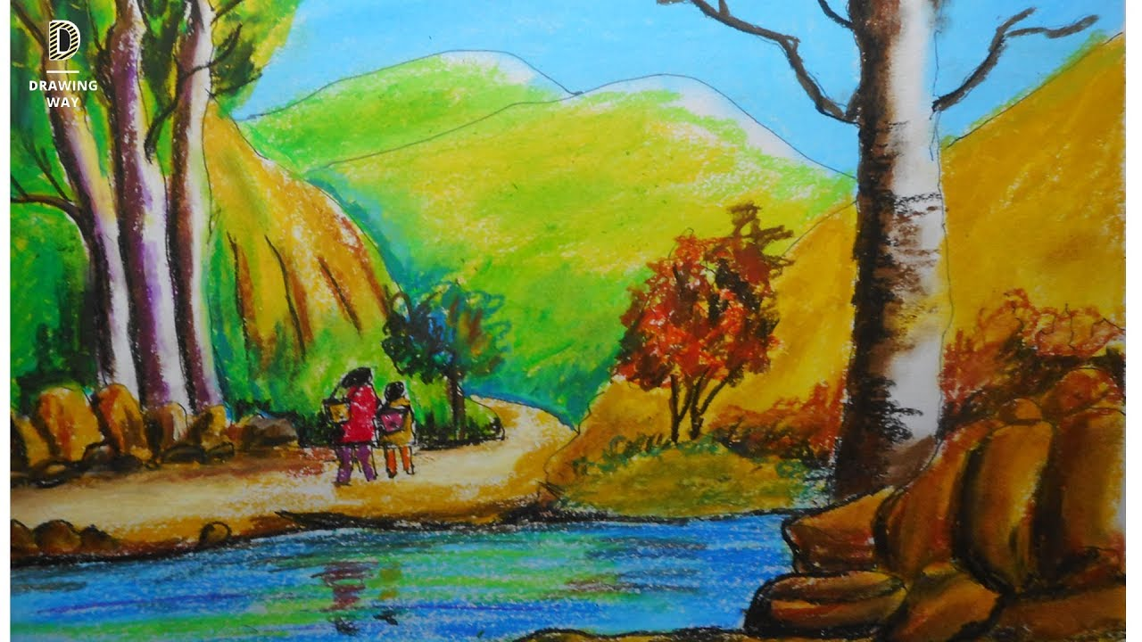 How to draw scenery of mountain with oil pastel #1