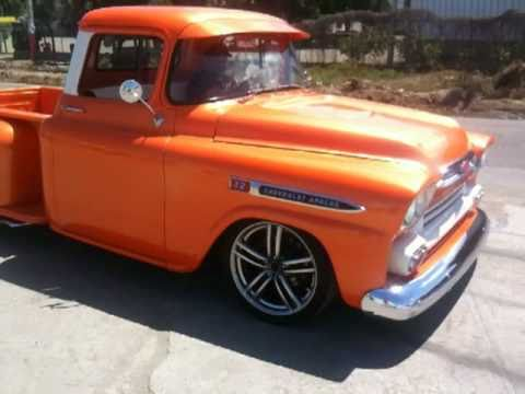 chevy truck apache 58 burnout - youtube