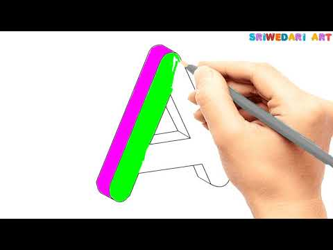How To Draw The Letter A In 3 Dimension , How To Coloring The Letter A