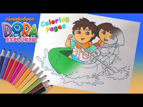 Dora and Diego are on a boat Coloring Pages for kids. Dora the Explorer Coloring Book