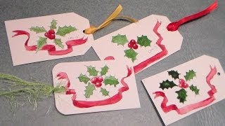 pen and ink watercolor holly gift tag