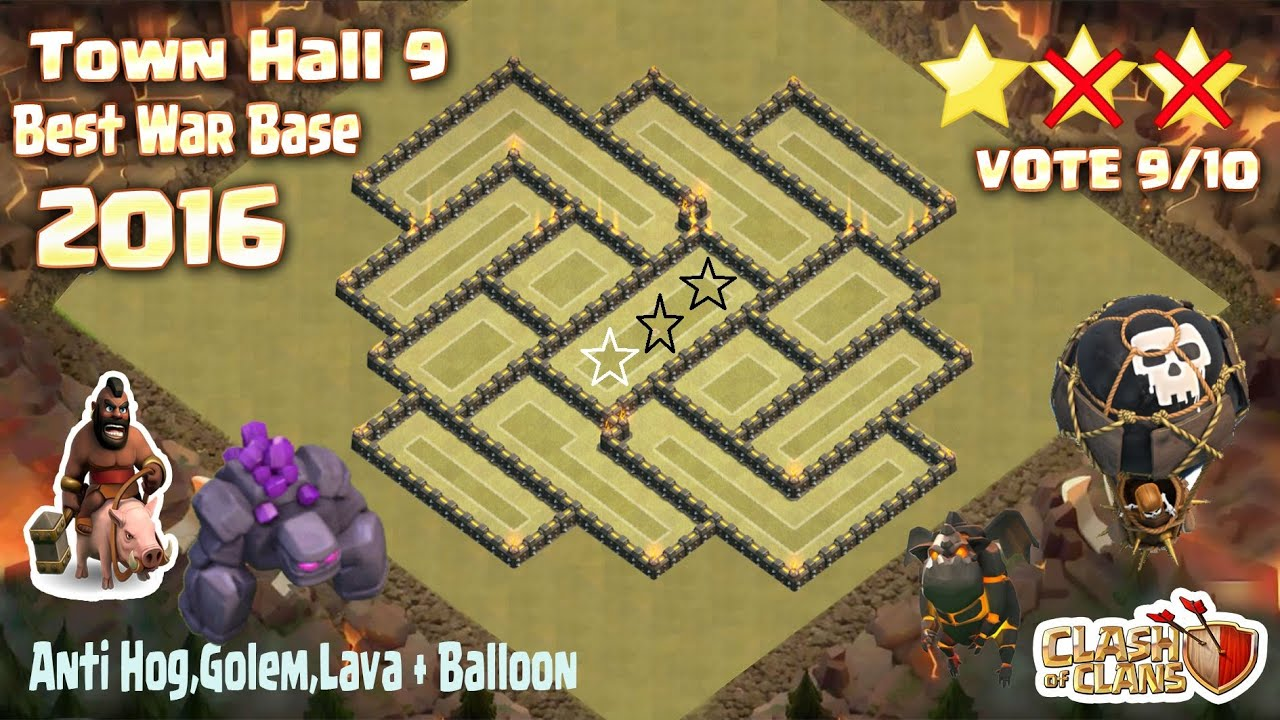 Clash of clans town hall 9 th9 best war base anti 2 star 2016