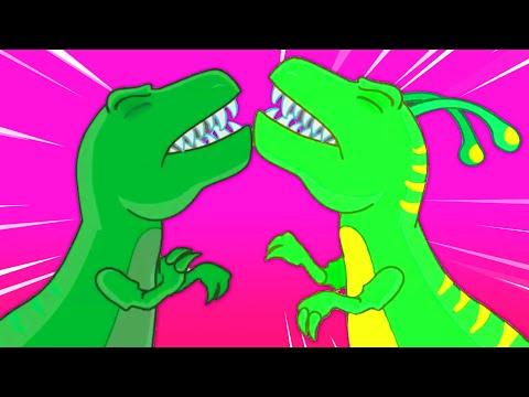 Groovy Le Martien se transforme en dinosaure trex pour sauver un œuf de dinosaure en danger