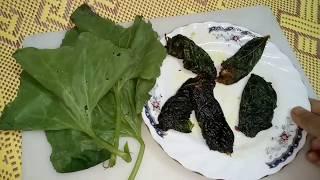 কুমড়ো পাতায় মুড়ানো  চেপা  ভূনা রেসিপি 😋  /pumpkin Leaf With dry fish fry recipe