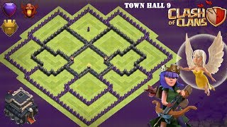 Town Hall 9 Hybrid Base ANTI QUEEN WALK - Clash of Clans (TH9)
