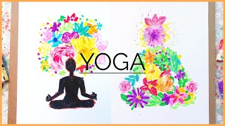 yoga drawing easy painting draw international pastel oil