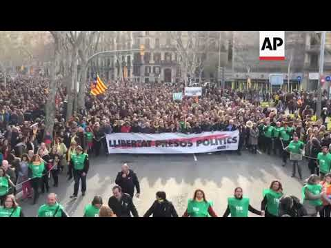 Catalan protesters march following detention of Puigdemont