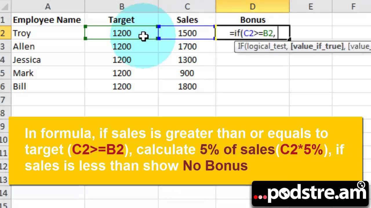 How to Calculate Bonus in Excel 2010 or Later - YouTube