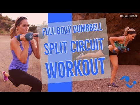 40 Minute Full Body Dumbbell Split Circuit Workout for Strength & Cardio