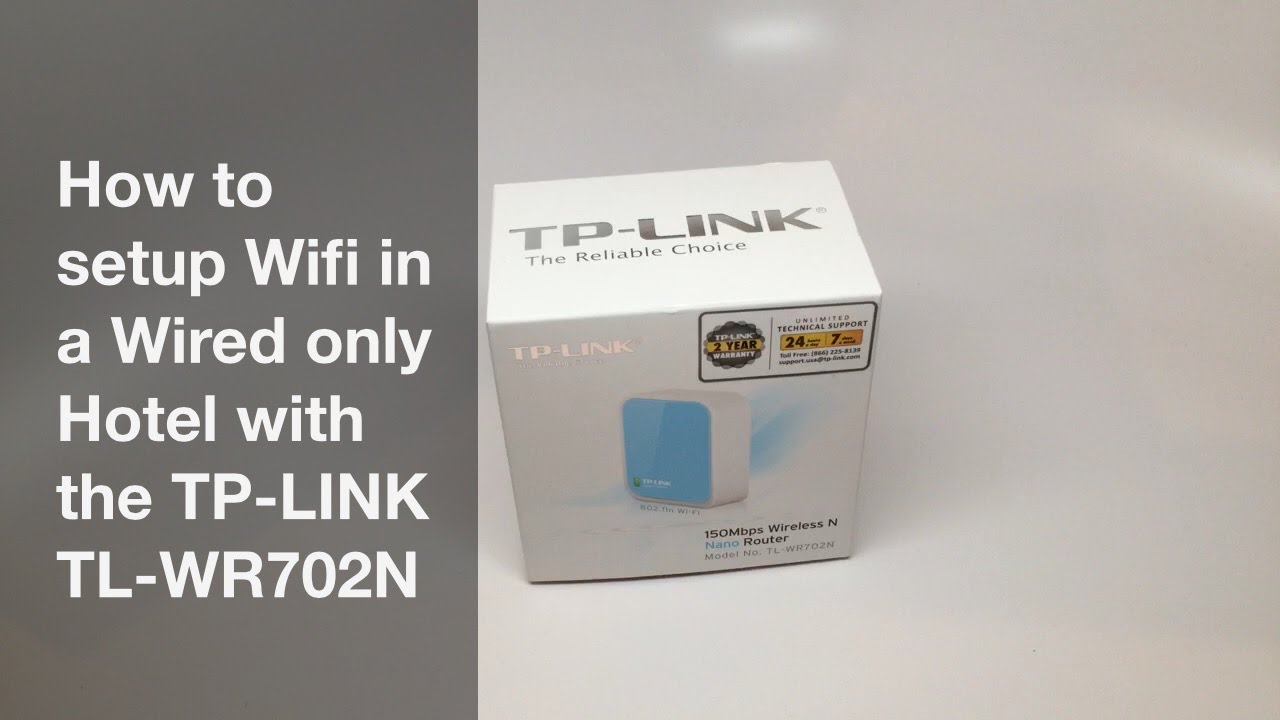How to setup Wifi in a hotel with only a wired connection using a TP-LINK  TL-WR702N travel router