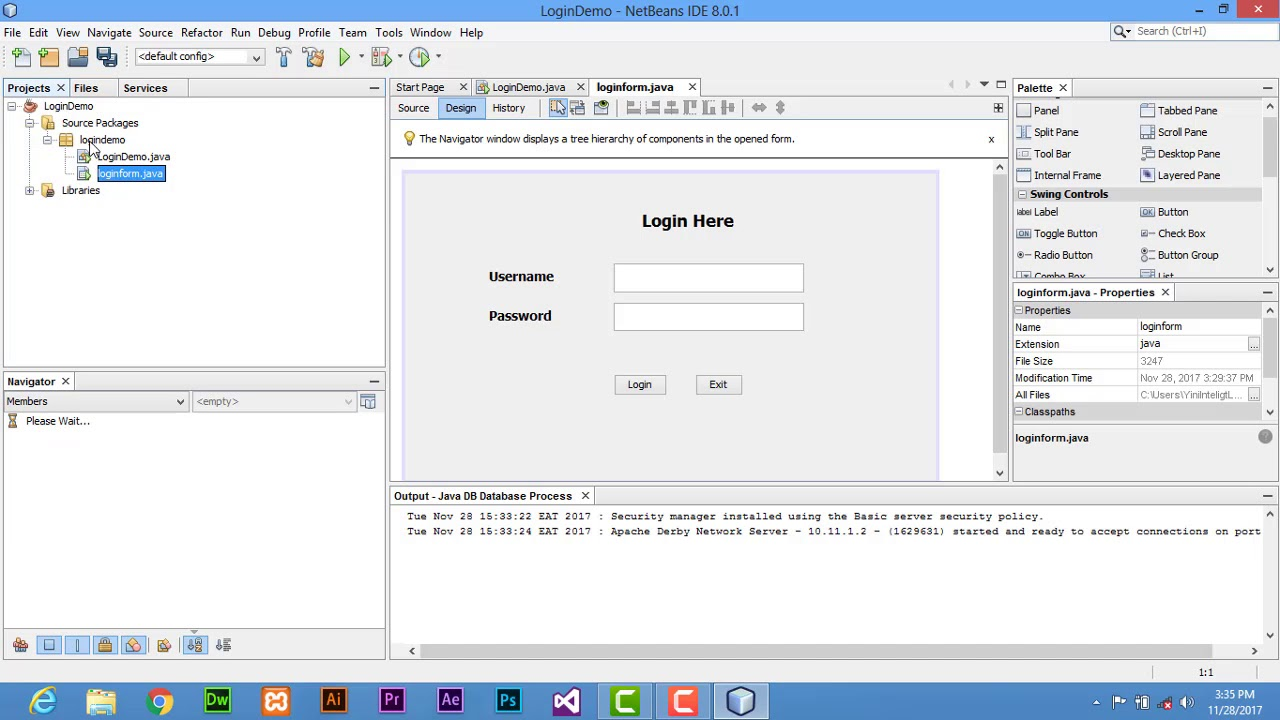 how to make a login program with derby database java netbeans with source  code