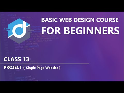 Project (Single Page Website) | Basic Web Design Course for beginners | Class 13