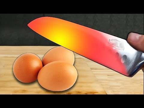 Thumbnail: EXPERIMENT Glowing 1000 degree KNIFE VS EGGS !! - EXPERIMENT AT HOME