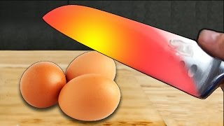EXPERIMENT Glowing 1000 degree KNIFE VS EGGS !! - EXPERIMENT AT HOME