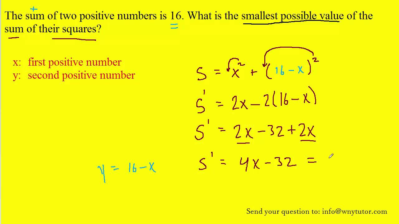 What Is The Smallest Possible Value Of The Sum Of Their Squar