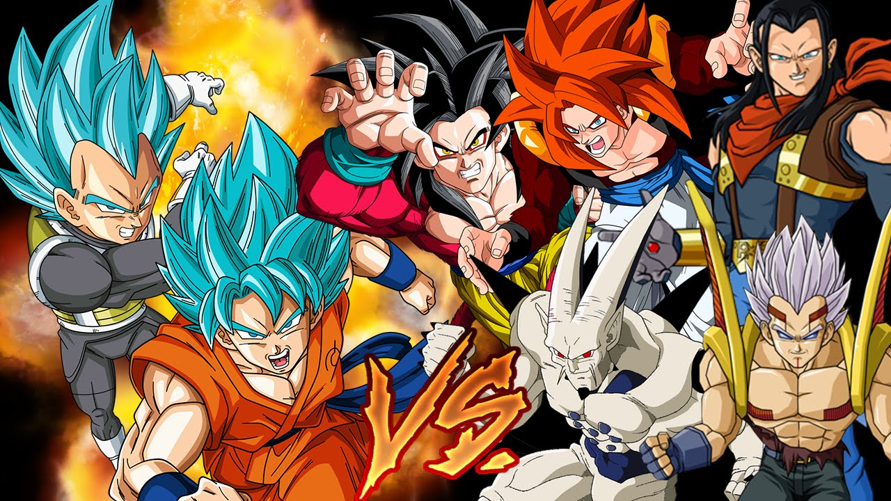 Goku Y Vegeta SSJ Dios Azul Vs Saga Saga GT