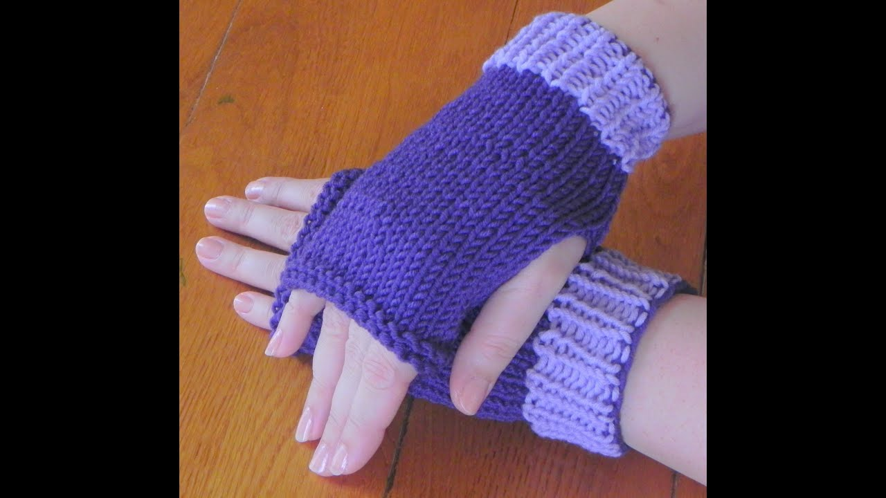 Mitten Knitting Pattern 4 Needles : How to Knit Lesson Two - Fingerless Mittens - YouTube