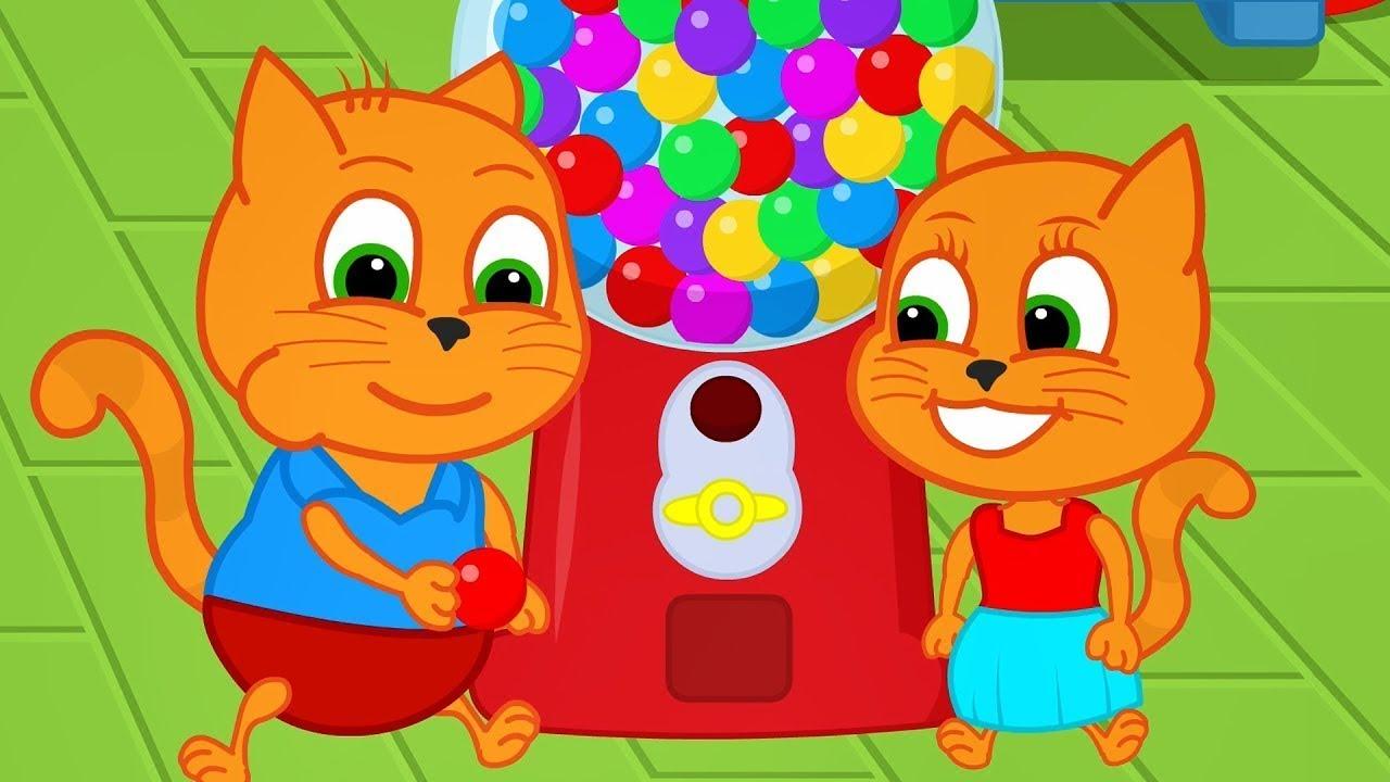 Download 🔴 Família de Gatos - Arco Iris Máquina de Chicletes Animado em Português Brasil