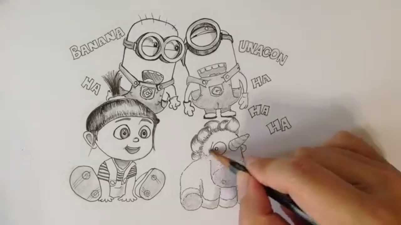 Drawing Minions Agnes and Unicorn from Despicable Me  YouTube