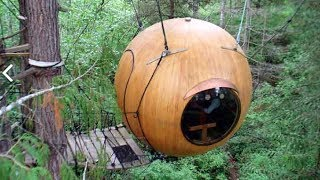 Wooden Sailboat Building Meets Tree House Designs?- Free Spirit Sphere Tiny Orb Cabins