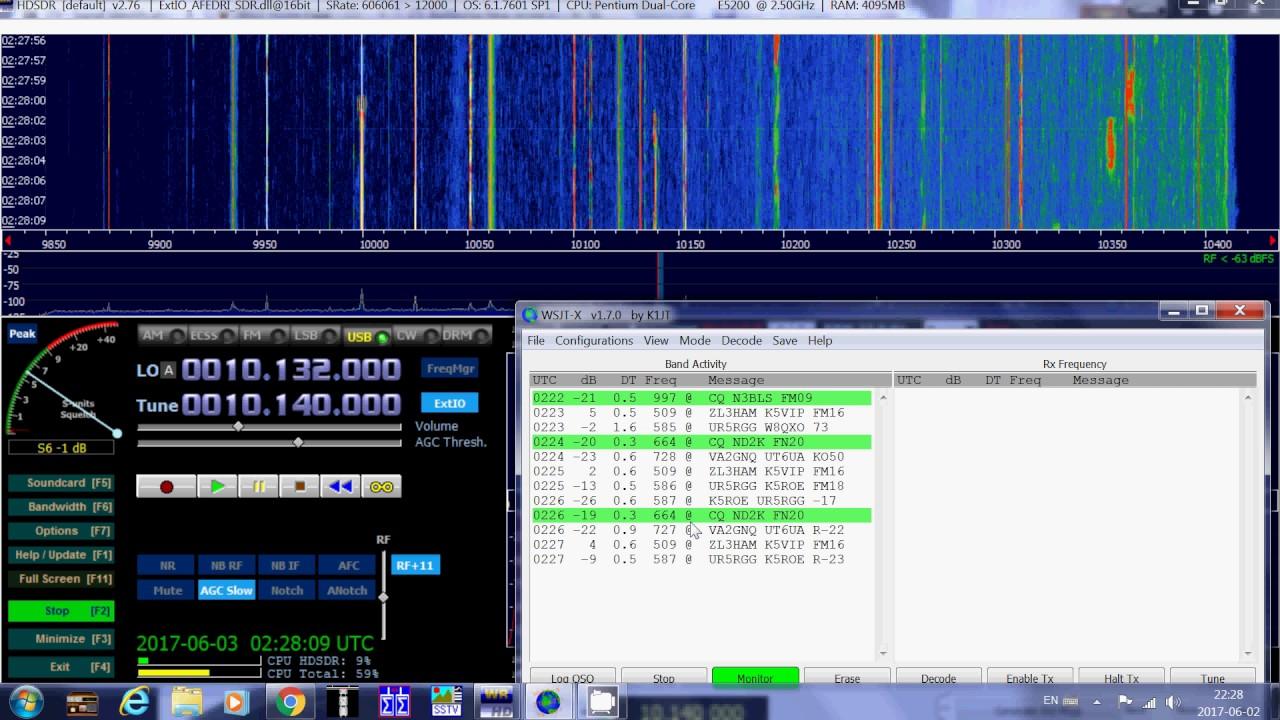 First Time decoding of JT9 digital mode using WSJT X software 10140 Khz  Shortwave