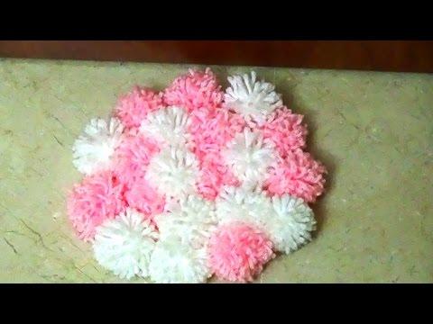 Diy alfombra de pompones youtube - Manualidades con pompones ...