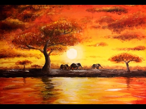 painting african sunset