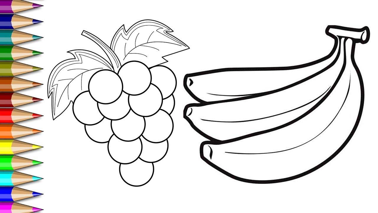 Menggambar Mewarnai Anggur Dan Pisang Mewarnai Buah Buahan Untuk
