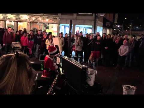 Faneuil Hall Crowds Sing along with Boston Piano Kid