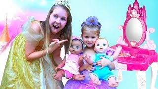Ruby & Bonnie Pretend Play with Baby Dolls and Princess Makeup Vanity Play Table Girls Toy