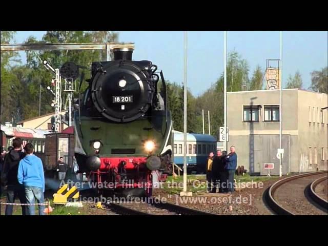 (HD) Reichsbahn Dampflok 18 201 - the fastest operational steam locomotive in the world in Löbau