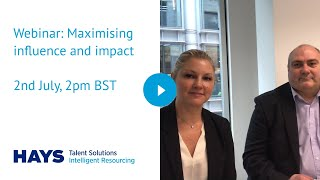 Webinar: Maximising influence and impact 2nd July, 2pm BST