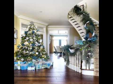 blue and white christmas decorations - YouTube