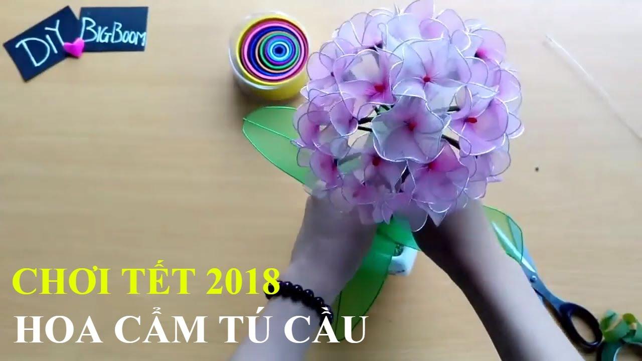 Hướng dẫn cách tự làm Hoa Cẩm Tú Cầm bằng vải voan ❀ Hoa Đẹp Ngày Tết 2018 ❀ DBB-VN