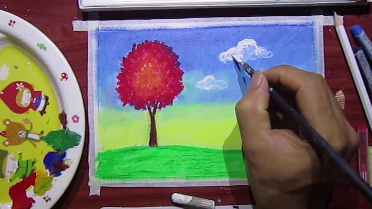 Cây đỏ cỏ xanh mây trắng vẽ tranh đơn giản bằng sáp màu