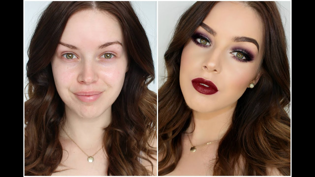 Smokey Burgundy Eyes Deep Lip Autumn Makeup Tutorial Youtube