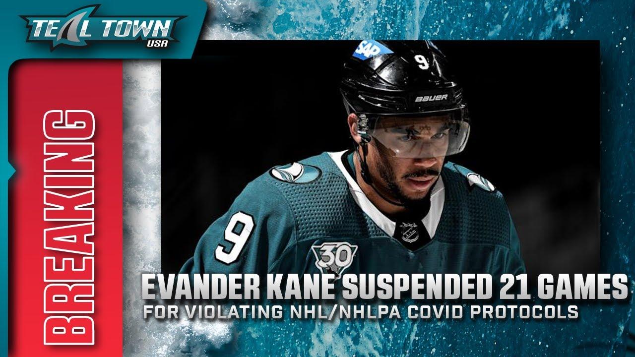 San Jose Sharks forward Evander Kane suspended 21 games by ...