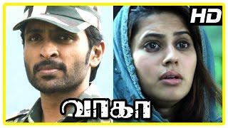 Wagah Tamil movie scenes | Vikram Prabhu realise Ranya is Pakistani | Karunas