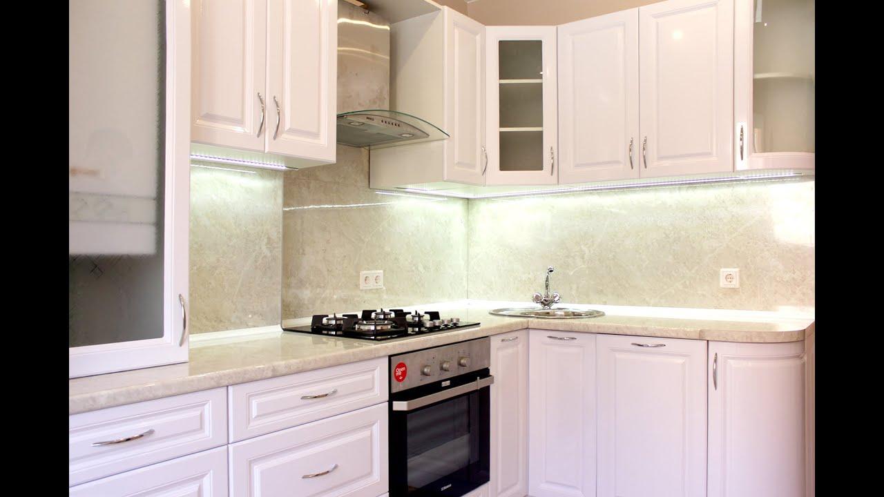 угловая белая глянцевая кухня на заказ Youtube