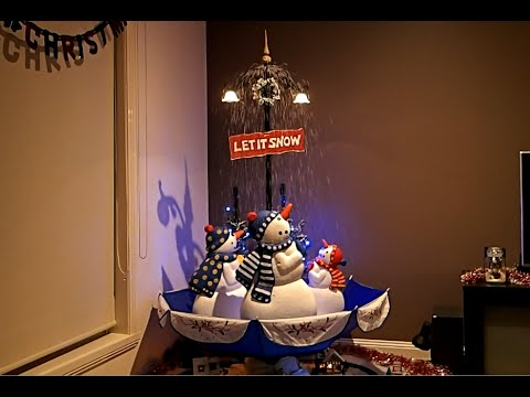 Snowing Snowman Christmas Lamp Post With Umberlla Base