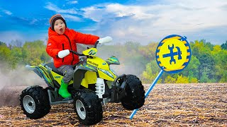 Малыш распаковал новый мини квадроцикл / john deere video for kids / power wheels